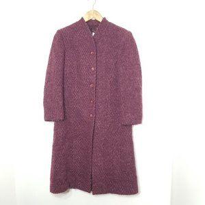Simon Chang|Long Burgundy Coat Button Front Jacket